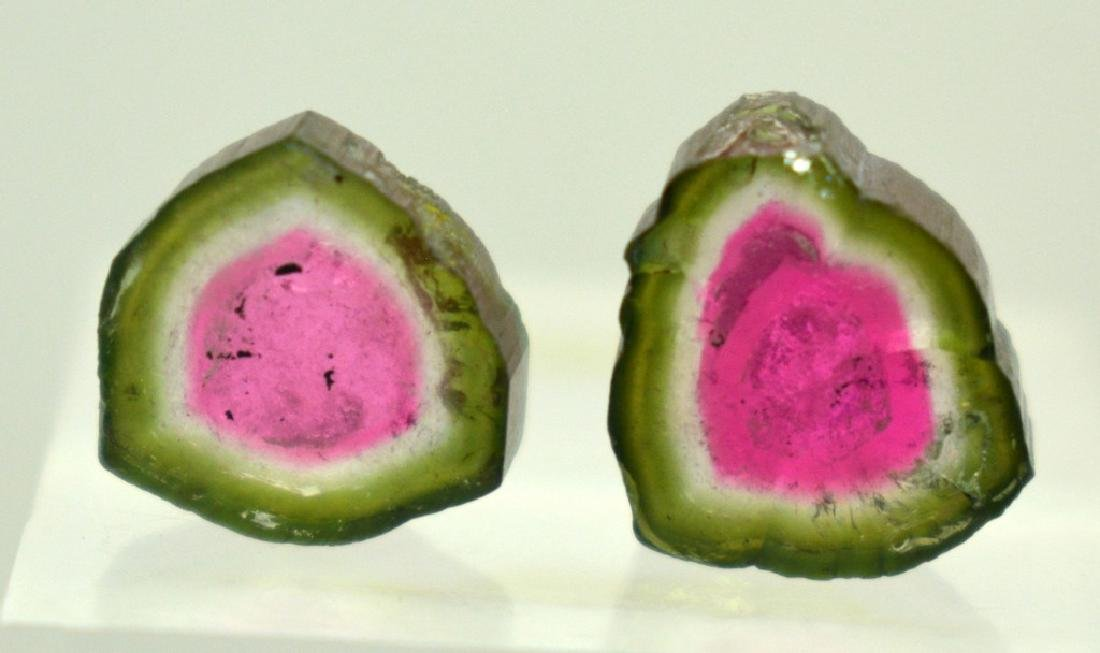 2 PCS Beautifull Watermelon Tourmaline Slices - 4