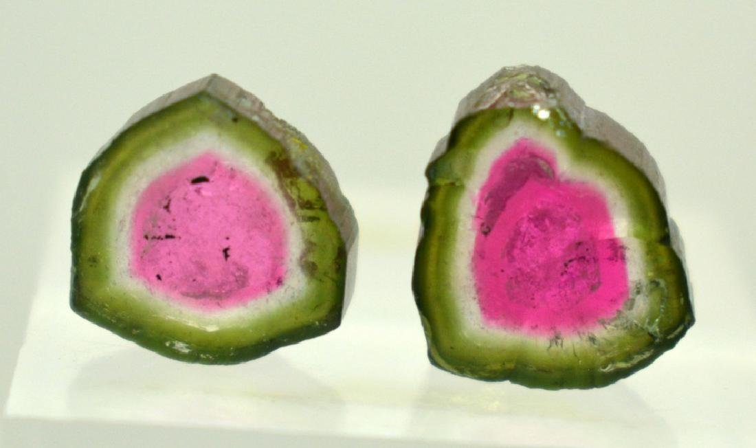 2 PCS Beautifull Watermelon Tourmaline Slices - 5