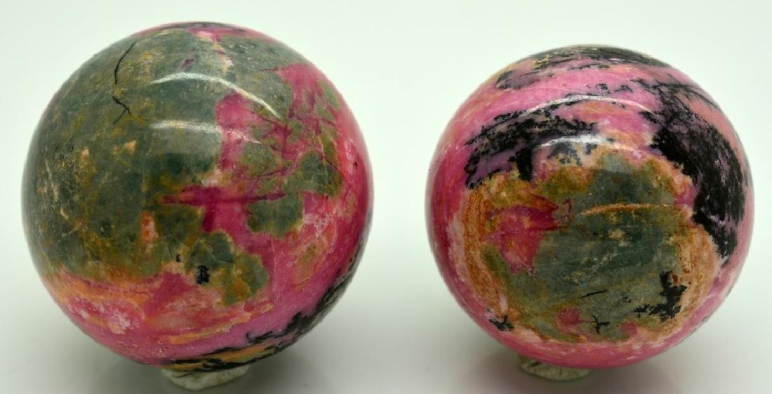 Natural Rhodonite Round Sphere Lot - 2