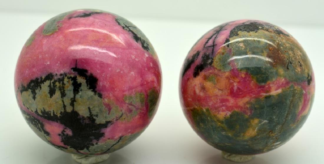 Natural Rhodonite Round Sphere Lot - 4