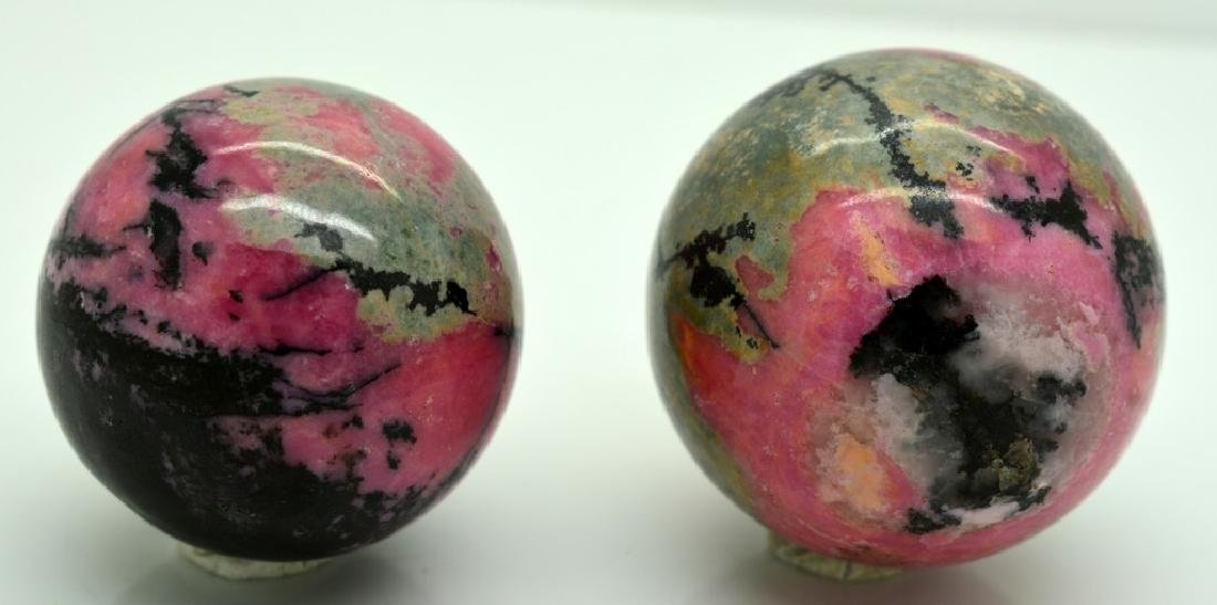 Natural Rhodonite Round Sphere Lot - 2