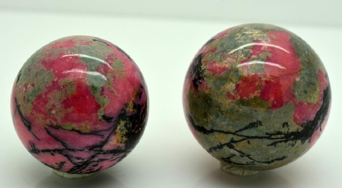 Natural Rhodonite Round Sphere Lot - 3