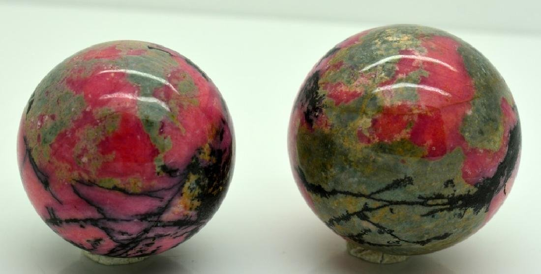 Natural Rhodonite Round Sphere Lot - 4