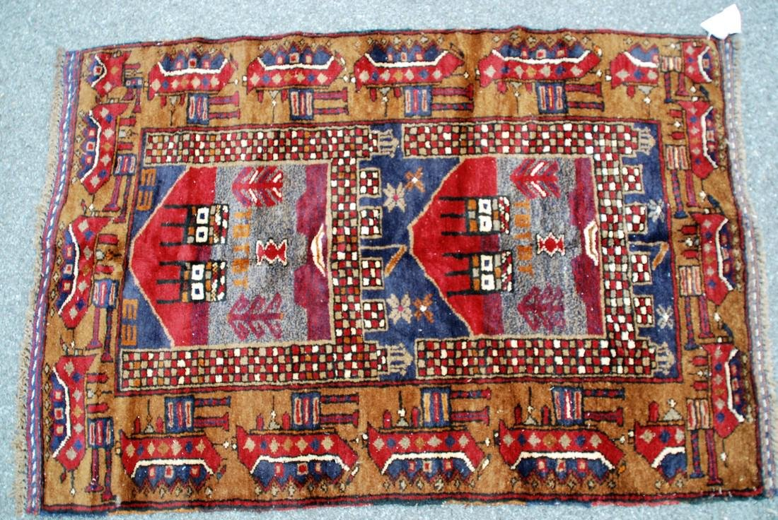 Tribal Afghan War Rug Soviet Era Rug 4.1x2.10