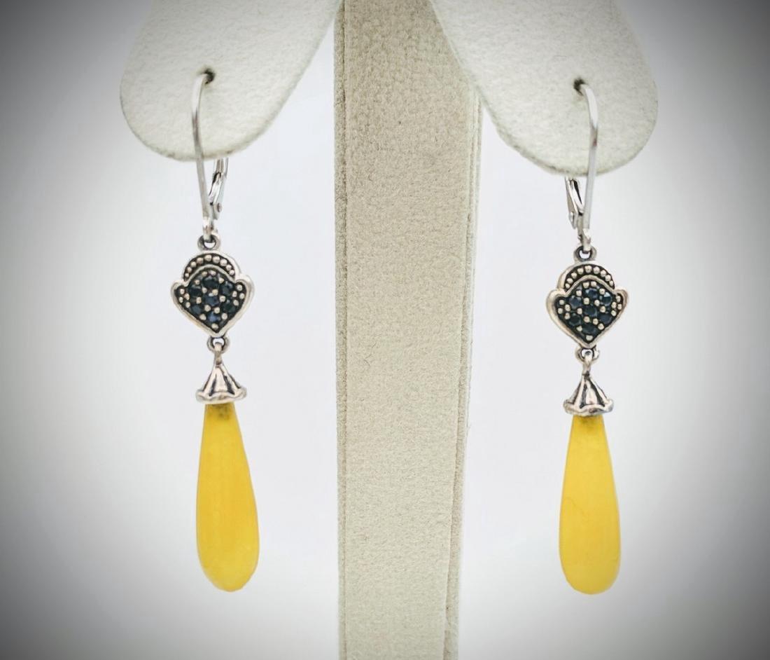 Sterling Silver Yellow Jade Black Onyx Drop Earrings
