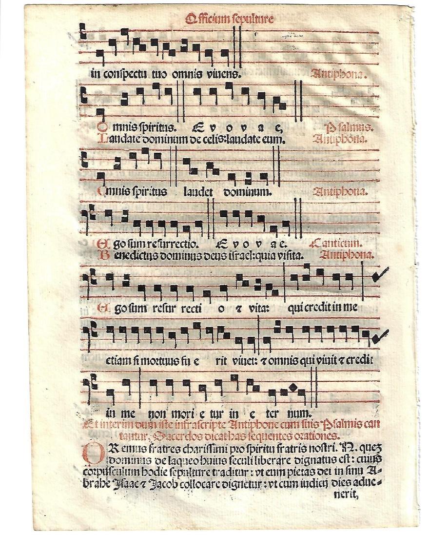 1567 Catholic Hymnal Leaf w/ Music