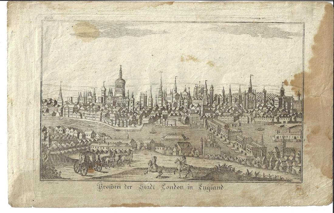 17th C Engraving View of City of London