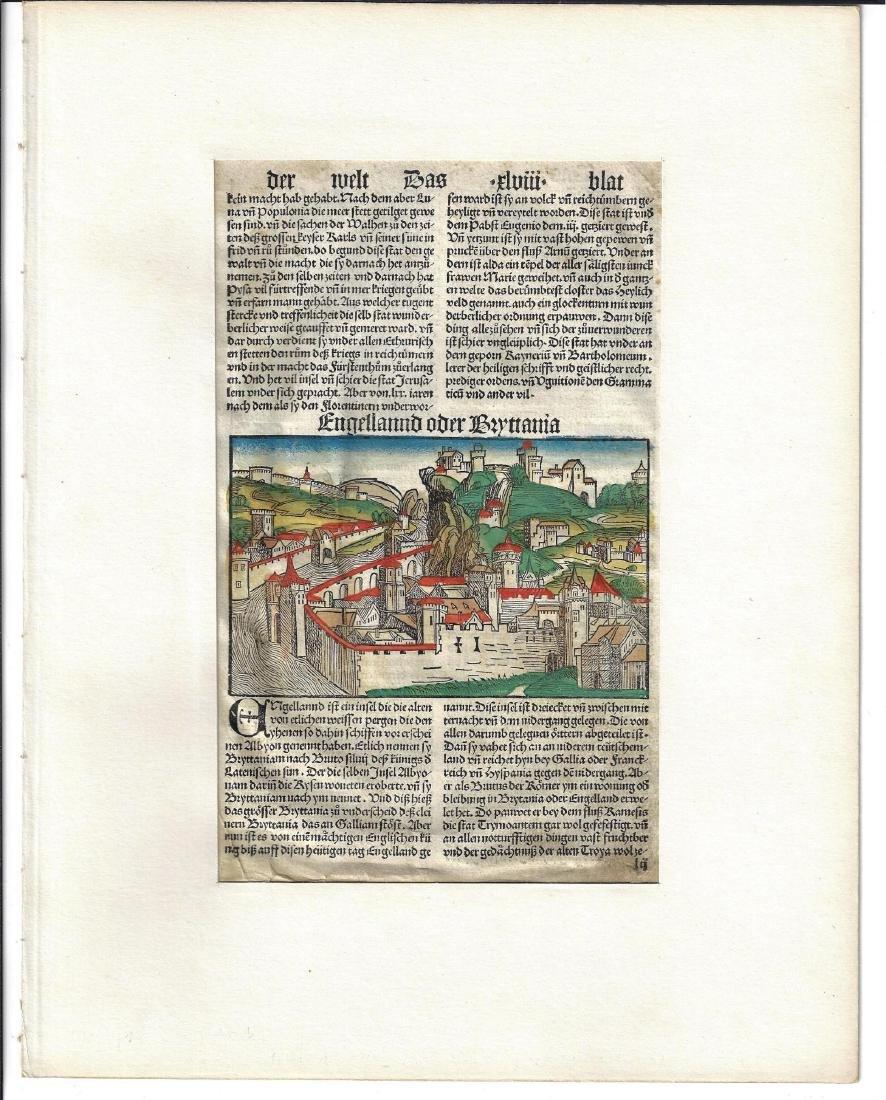 c1500 Schedel Handcolored Engraving England