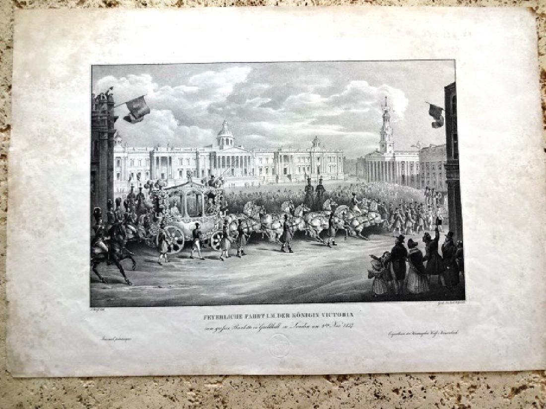 1837 Large Engraving Queen Victoria Guildhall