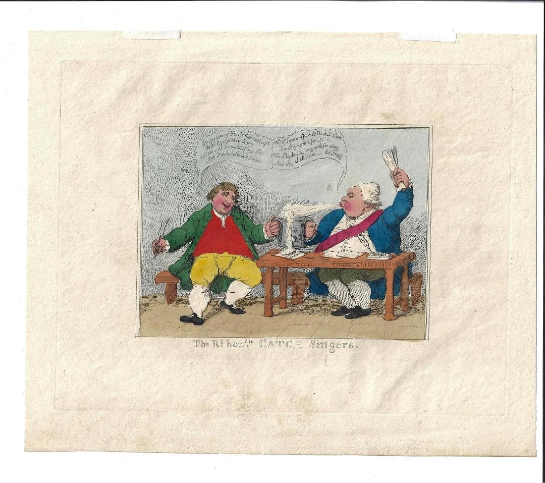 c1820 James Gillray Engraving Catch Singers Handcolored