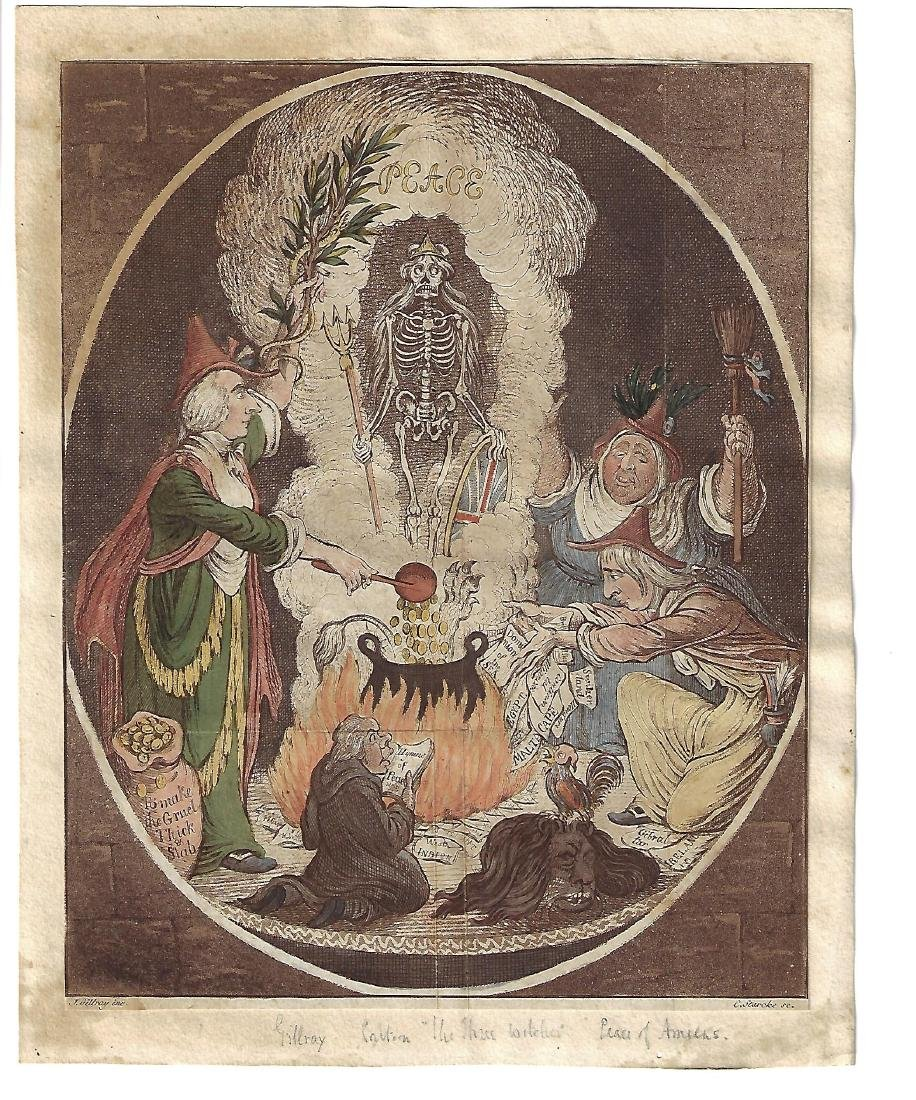 c1806 James Gillray The Three Witches Handcolored