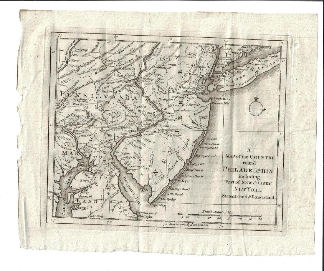 1776 Map of Country Round Philadelphia New Jersey