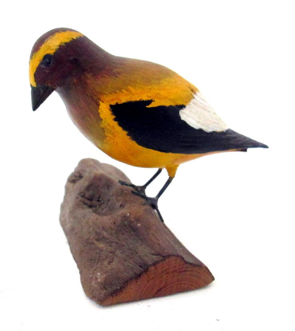 Colorful Painted Carved Songbird