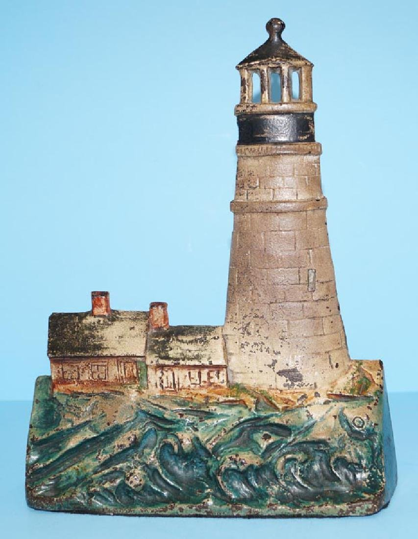 Antique Gloucester Lighthouse Cast Iron Doorstop, 1925