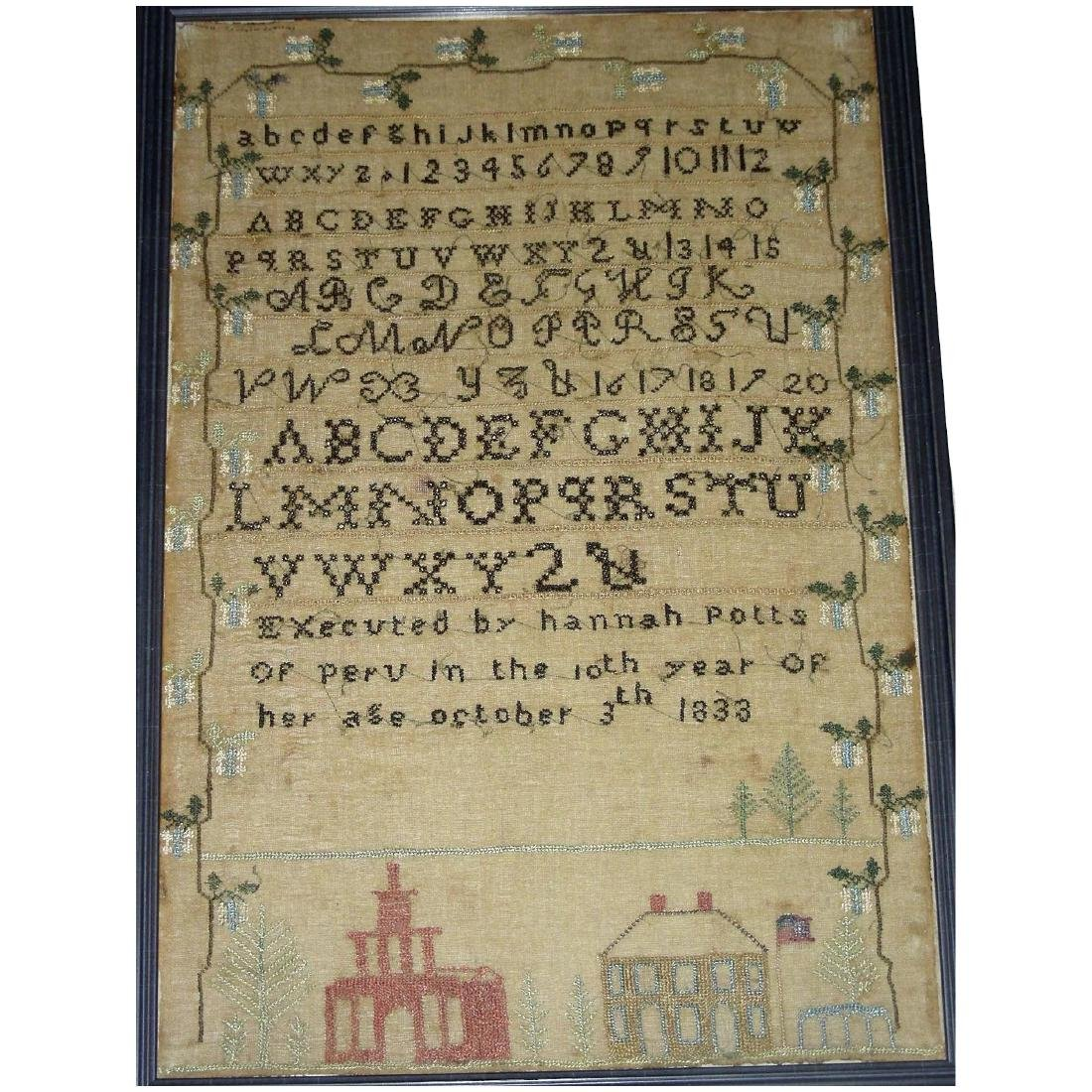 American Needlework Sampler by Hannah Potts, 1833