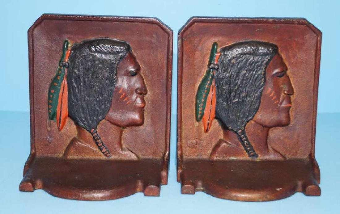 Antique Indian Brave Cast Iron Bookends
