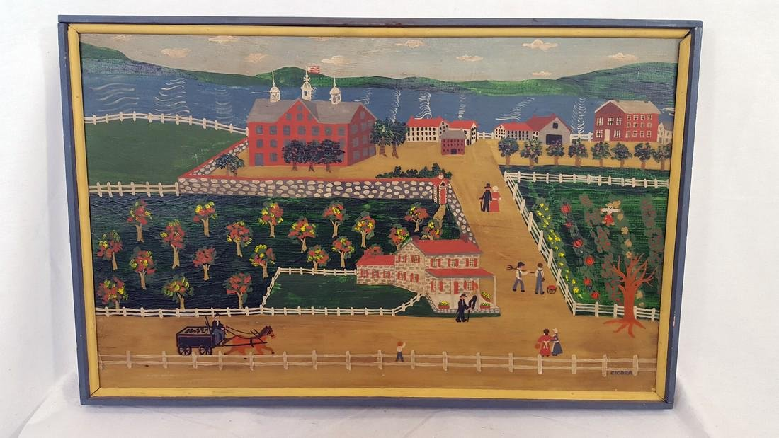 Folk Art Painting Signed Cicora Late 20th Century