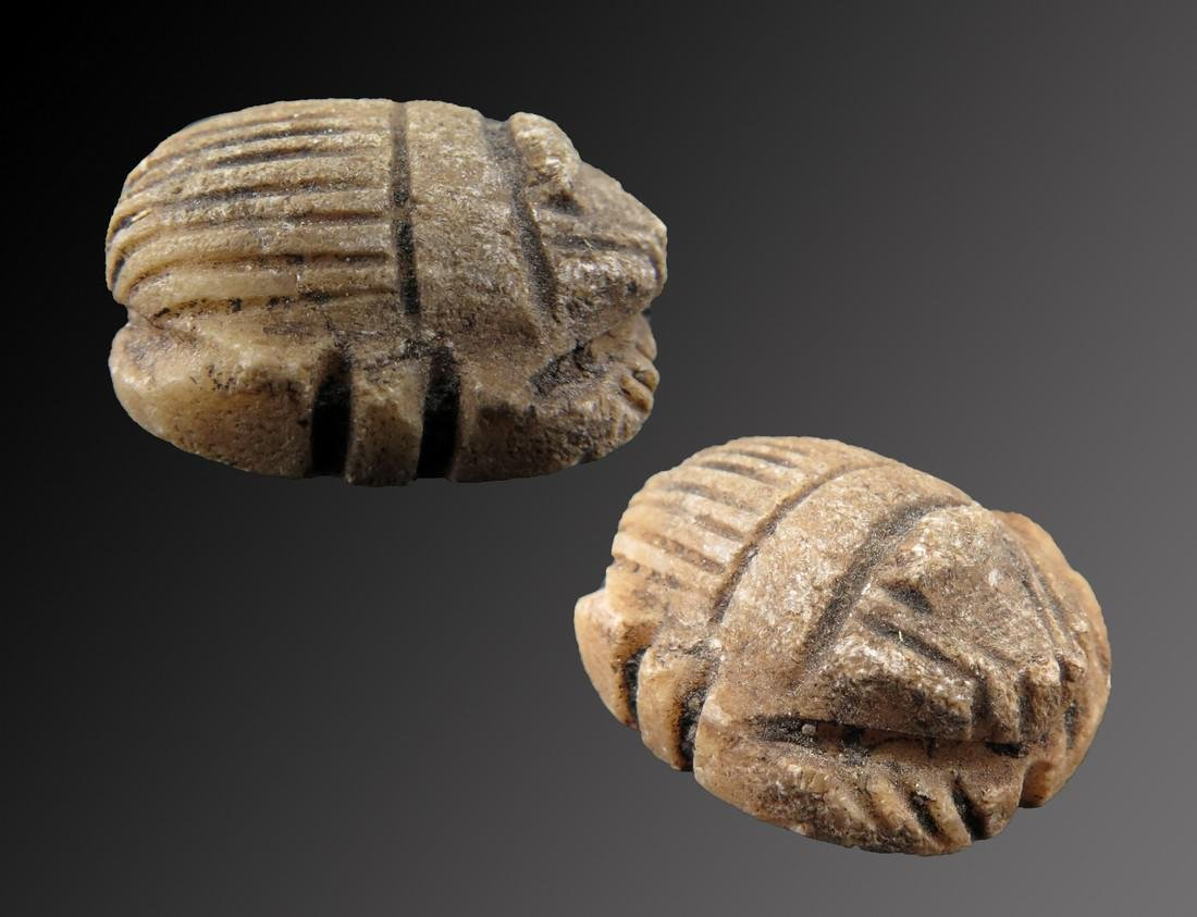 Egyptian Decorated Alabaster Heart Scarab