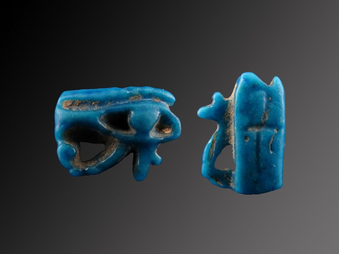 Egyptian Faience Open Horus Eye & Ankh on the Backside