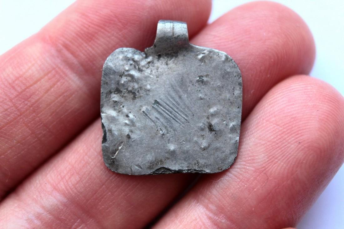 Ancient Silver Pendant - House - 3