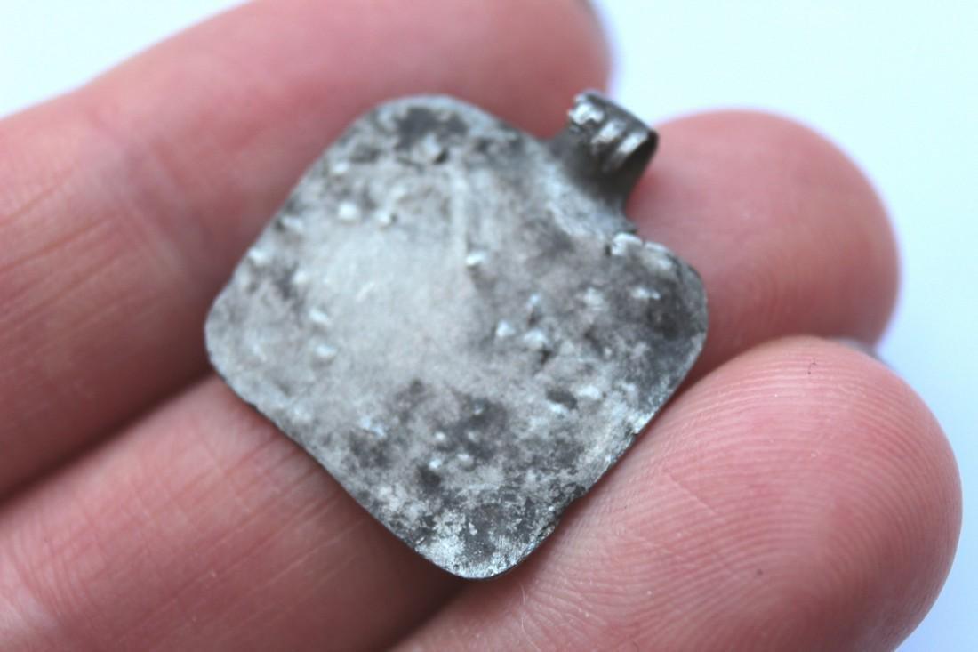 Ancient Silver Pendant - House - 7