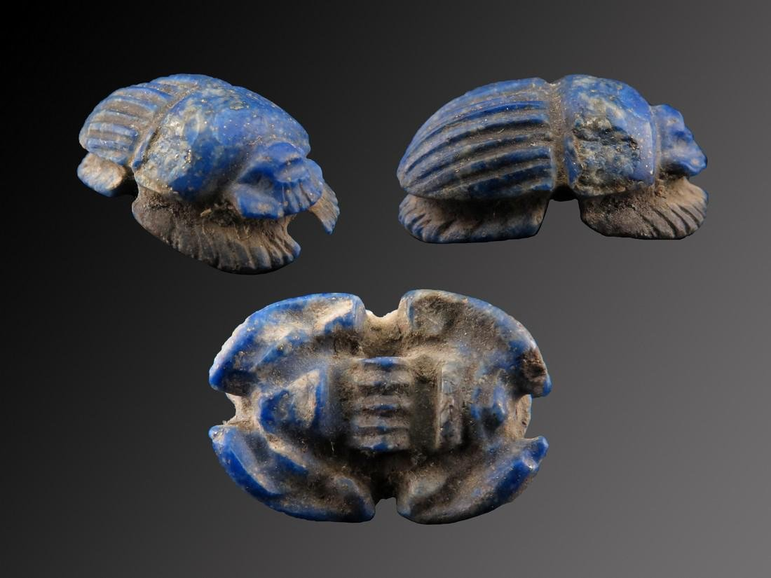 Egyptian Lapis Scarab or Kheper With Legs