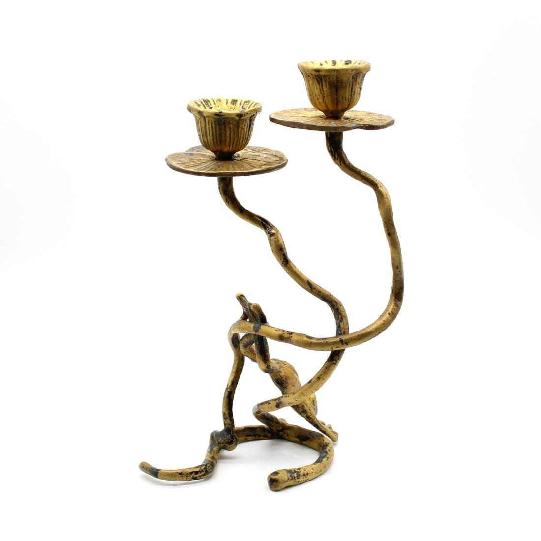 Vintage Brass Leaping Frog & Lily Pad Candle Holder - 4