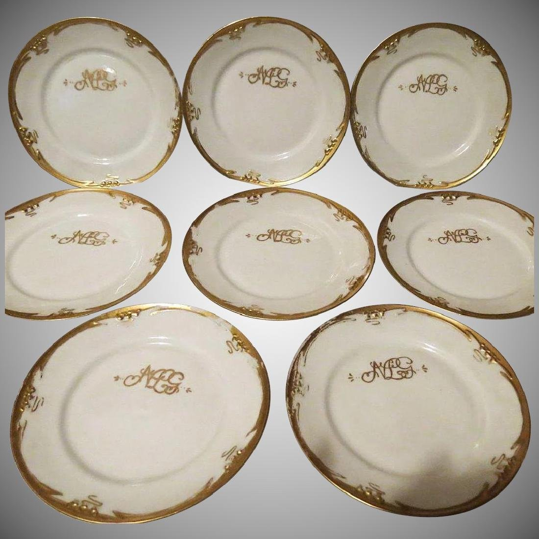 Antique P Mavaleix Limoges France china 8 lunch plates