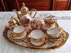 French Style Bavaria 22K Gold Porcelain Coffee Set