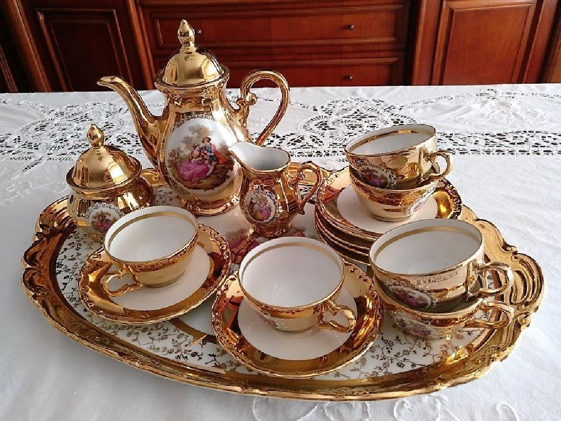 French Style Bavaria 22K Gold Porcelain Coffee Set
