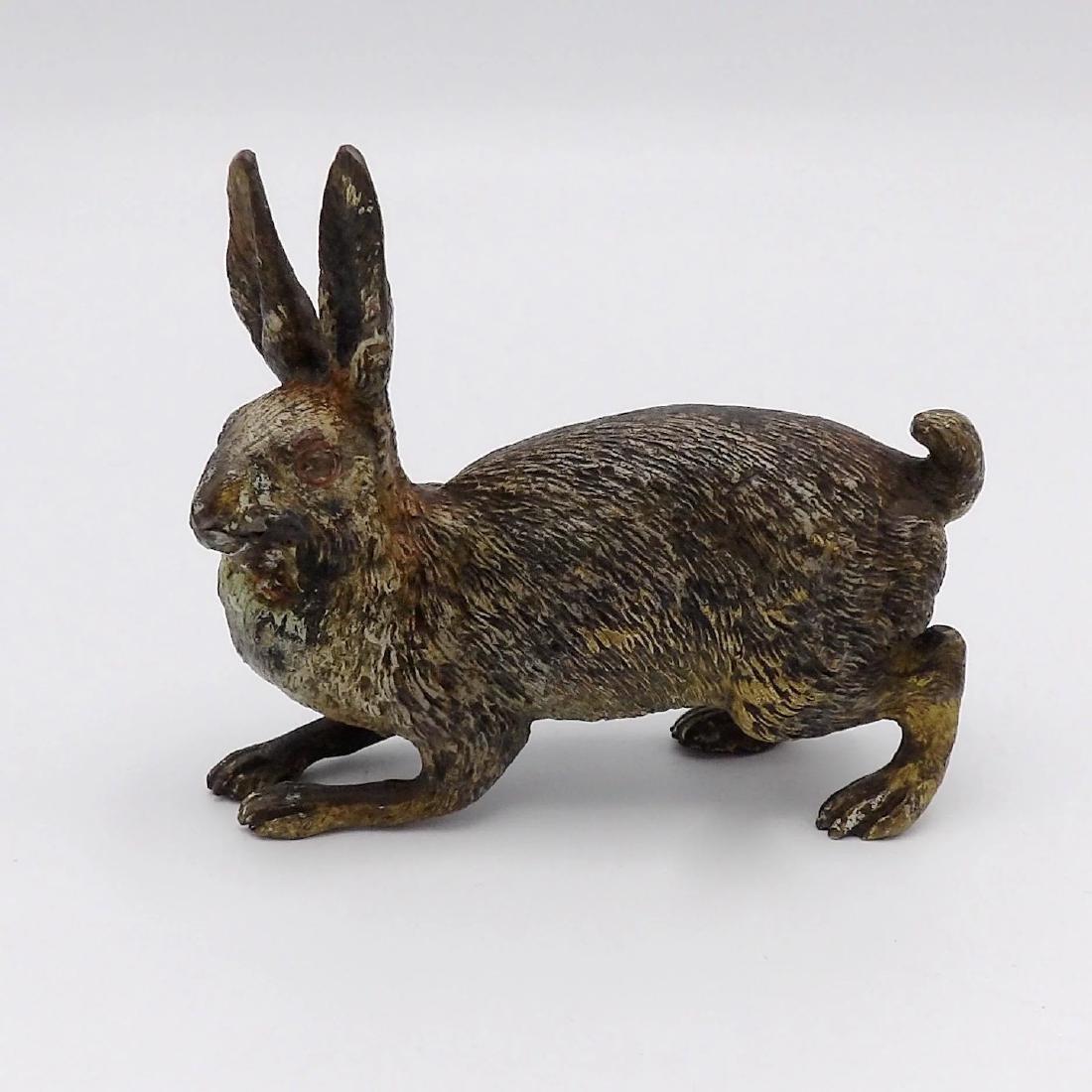 Antique Austrian Cold-Painted Bronze Rabbit, c1870
