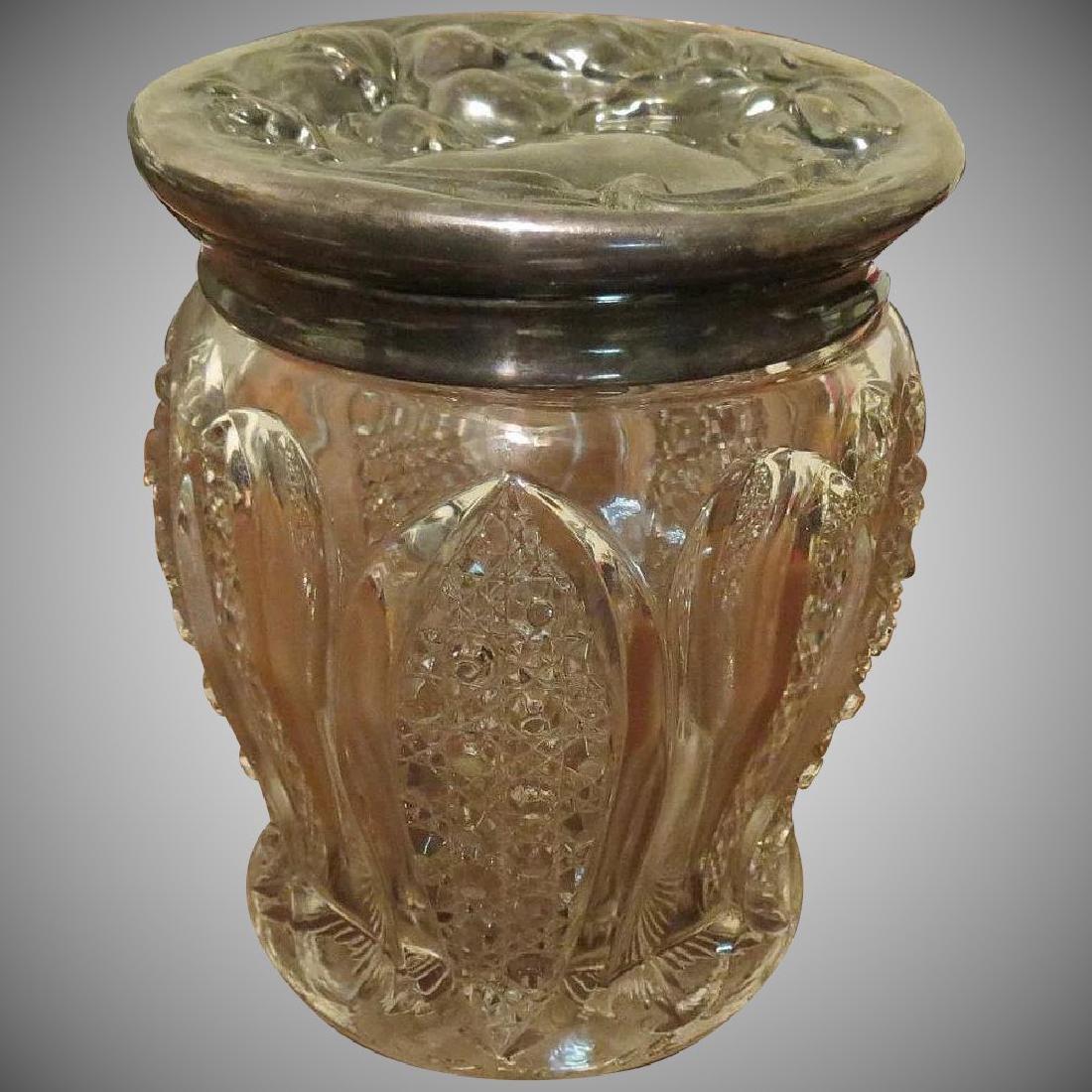 Antique Art Nouveau large cut Glass Jar Floral