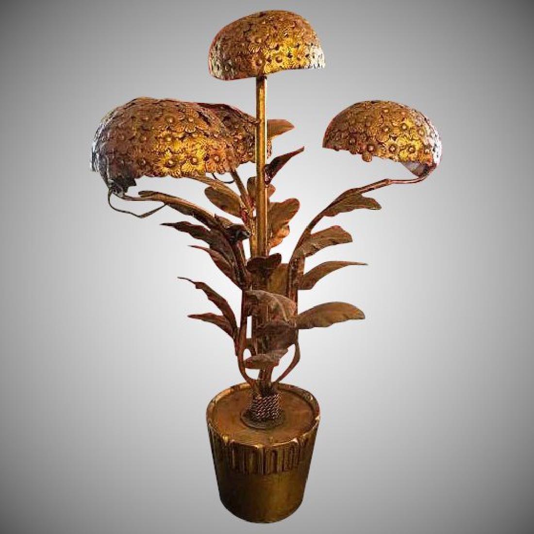 Mid-Century Italian Gilt Metal Hydrangea Table Lamp