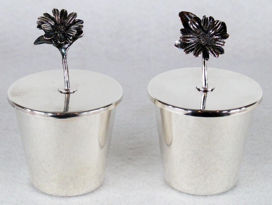 Mid Century Italian Sterling Silver Flower Lid Cups