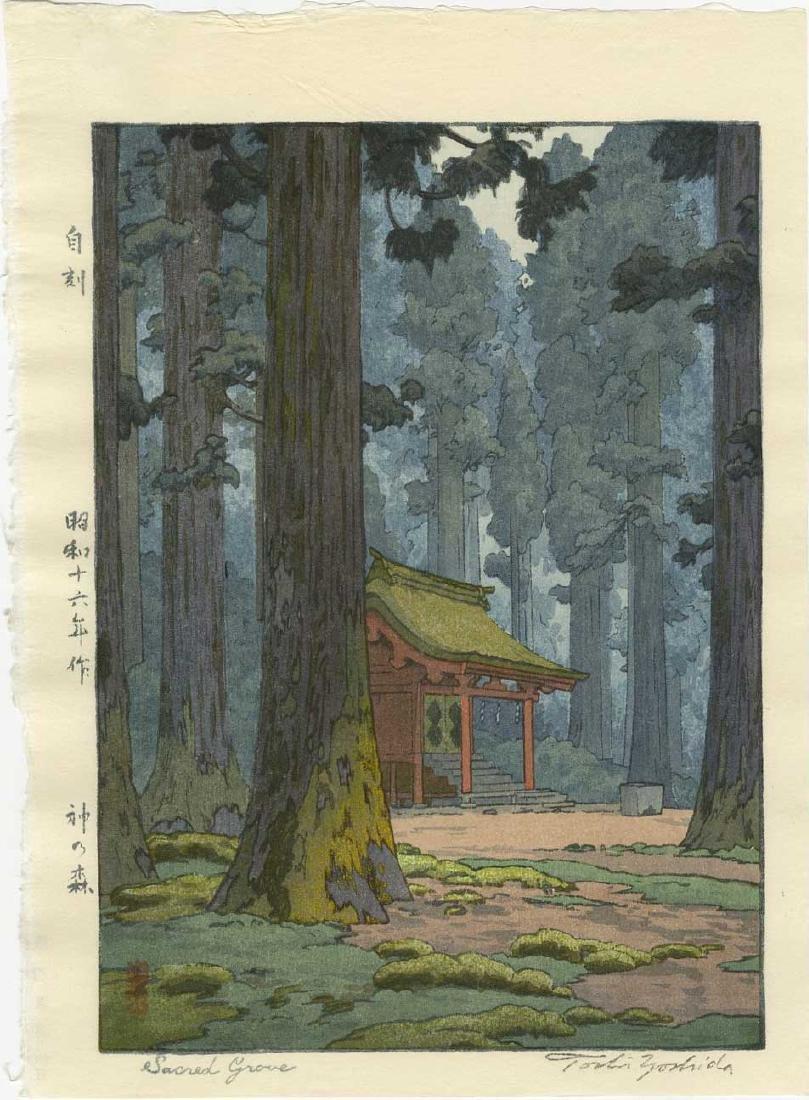 Toshi Yoshida Woodblock Sacred Grove