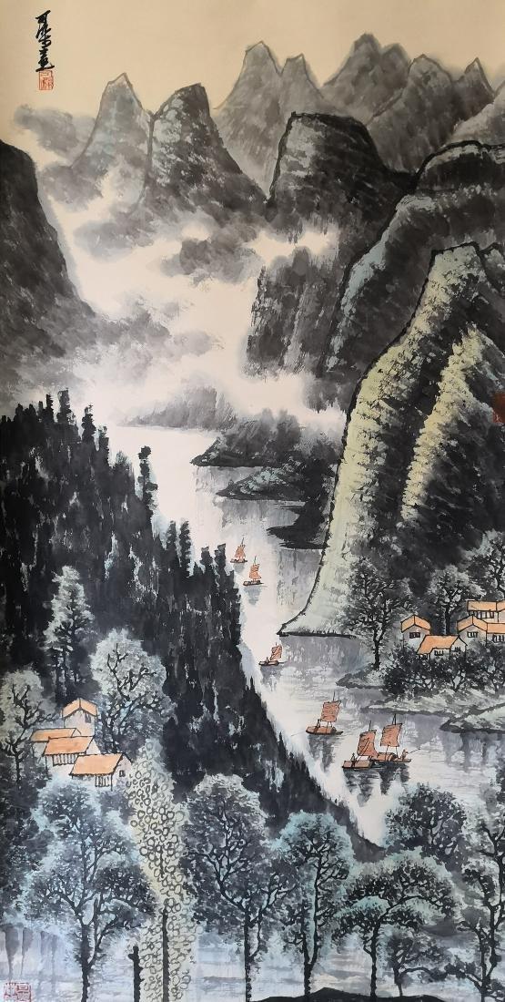 A Chinese Scroll Painting on paper Li Keran