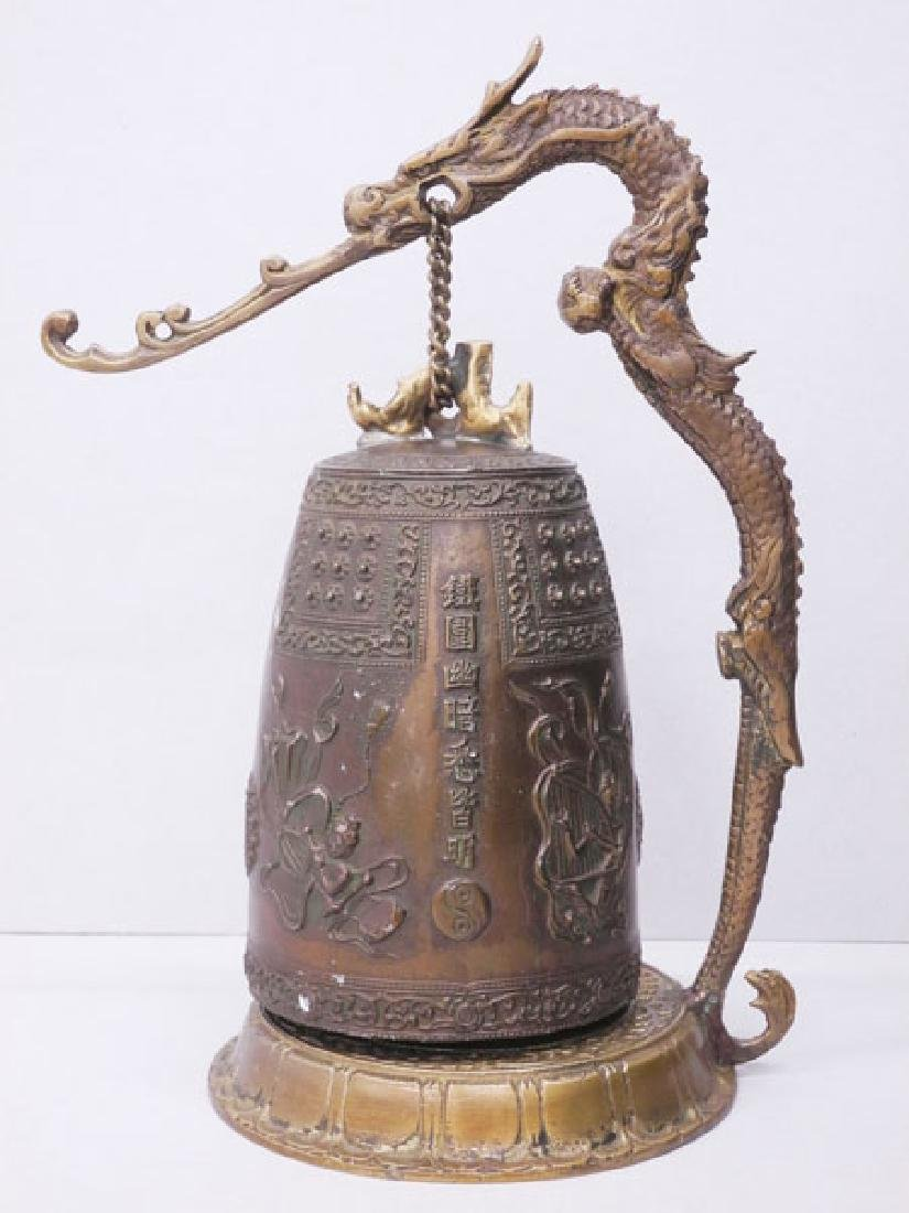 Antique Japanese Iron Temple Dragon Bell