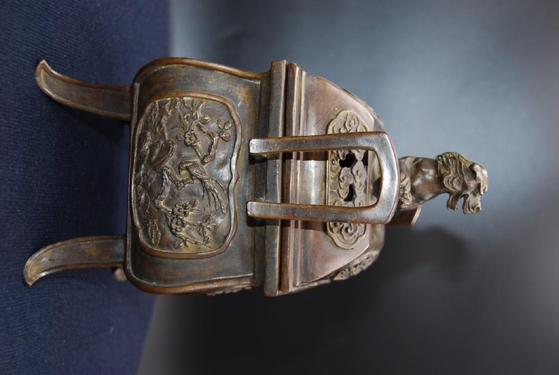 Chinese Qianlong Mark Bronze Censer - 5