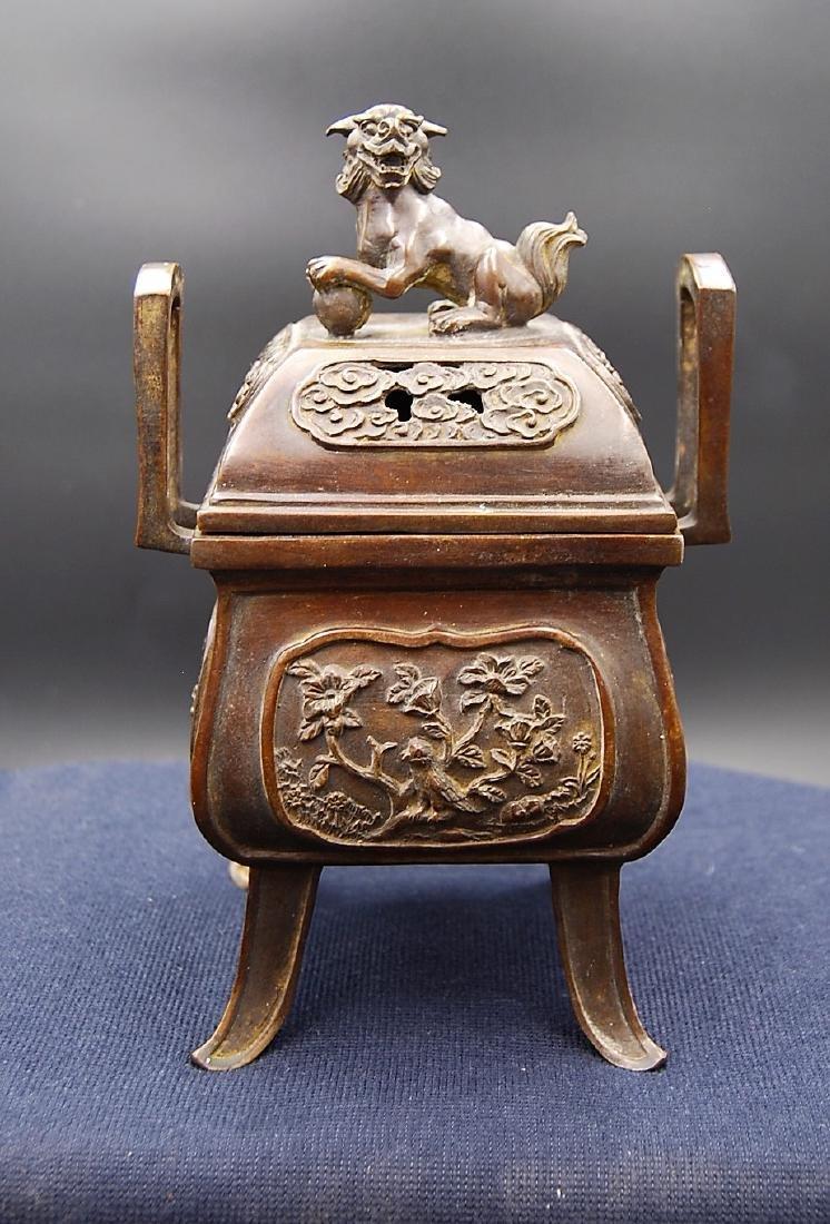Chinese Qianlong Mark Bronze Censer - 6