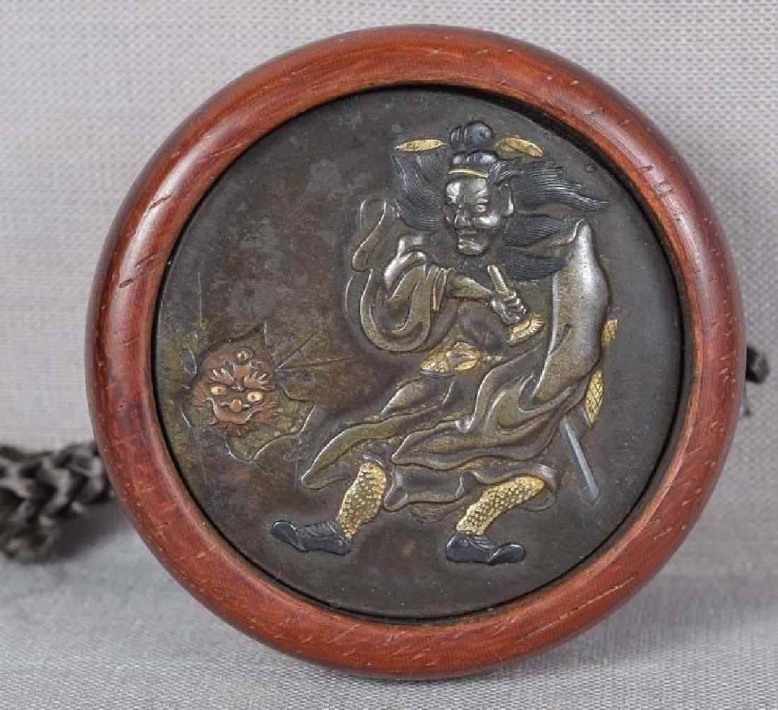 Antique Japanese Kagamibuta Netsuke Shoki & Oni