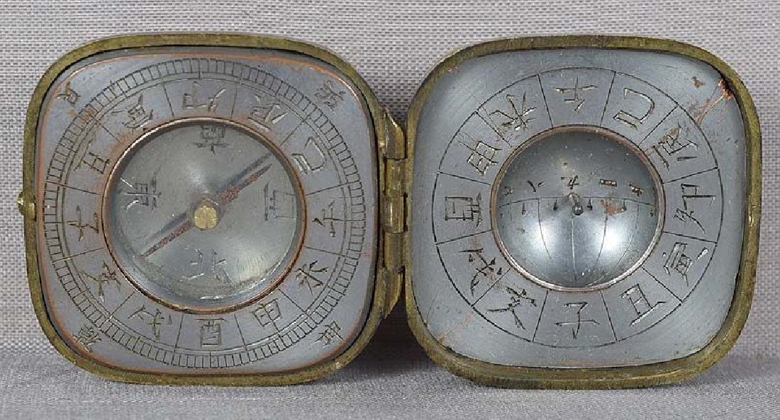 Antique Japanese Multimetal Netsuke Compass & Sundial