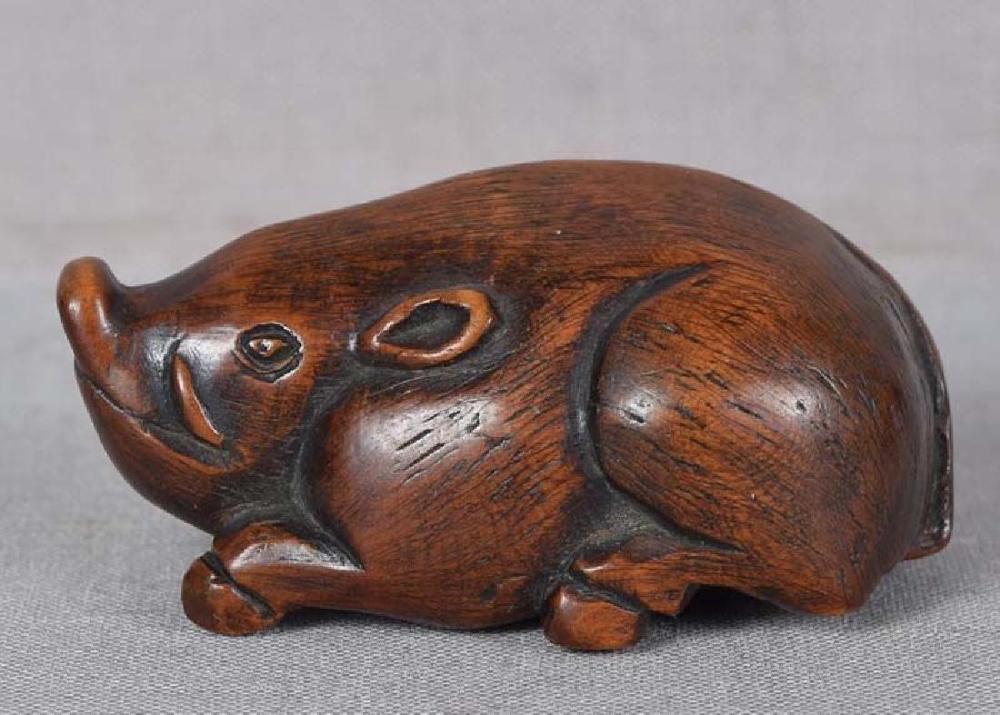 Antique Japanese Boxwood Netsuke Resting Boar