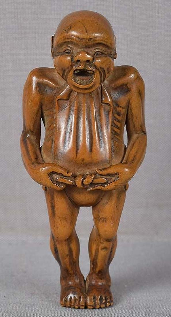 Antique Japanese Netsuke Man Tying Loincloth Fundoshi