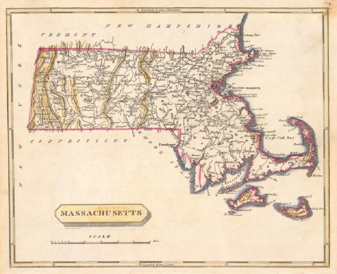 Arrowsmith: Antique Map of Massachusetts, 1819