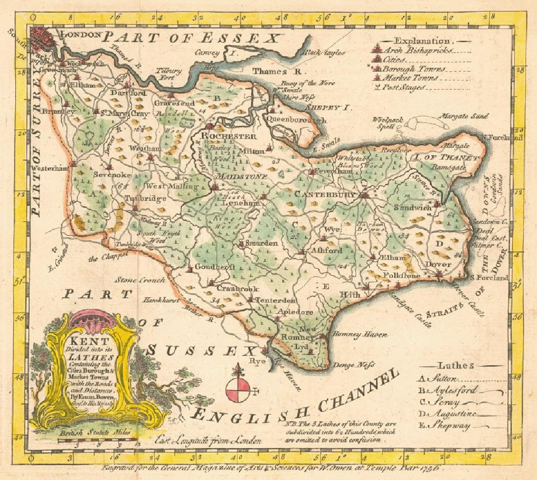 Bowen: Antique Map of Kent, 1756