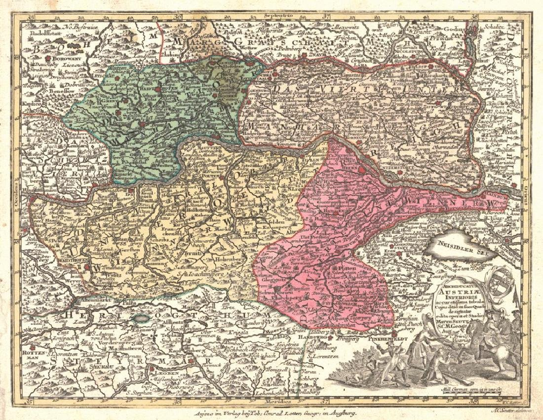 Seutter: Antique Map of Lower Austria, 1770