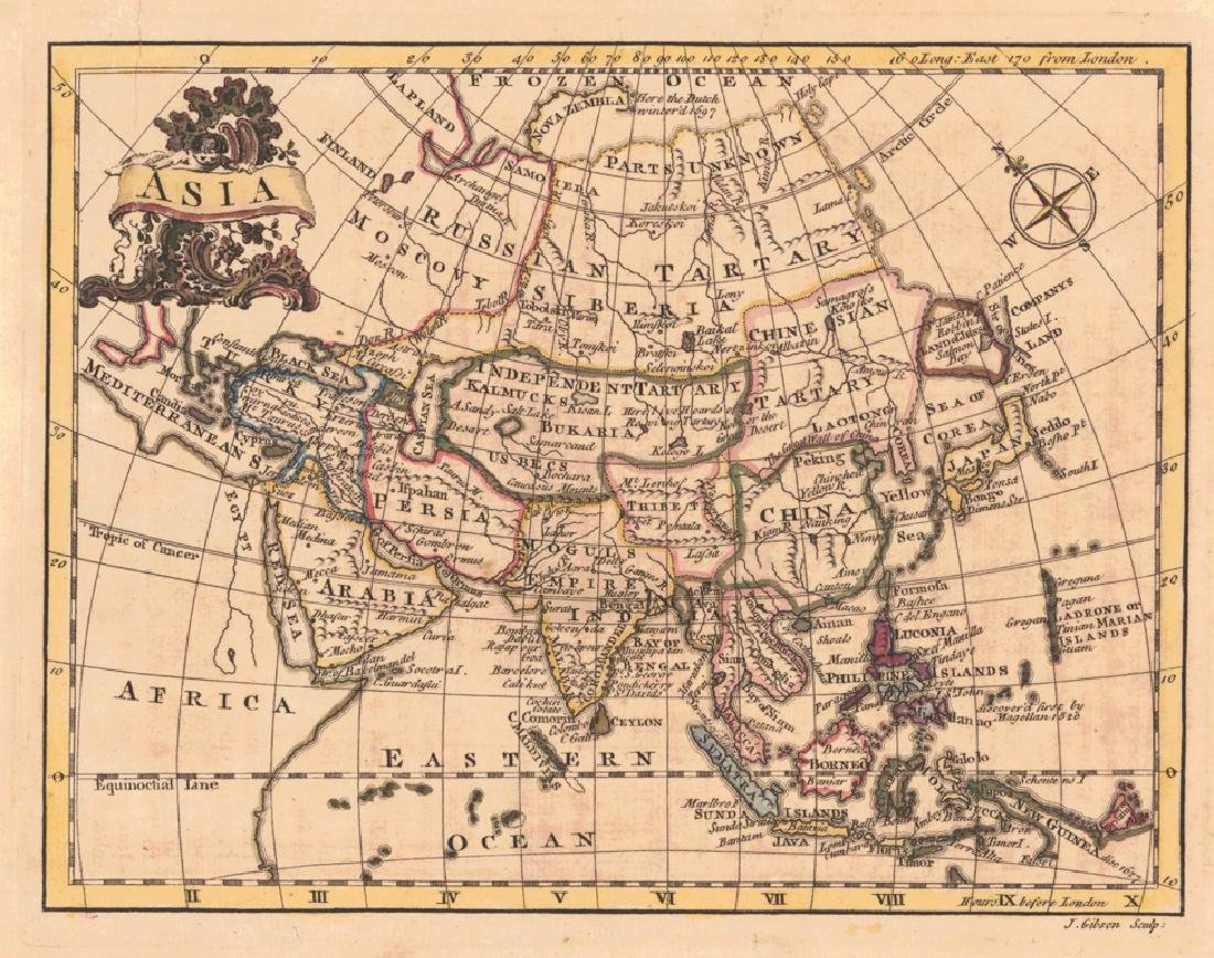 Gibson: Antique Map of Asia, 1762