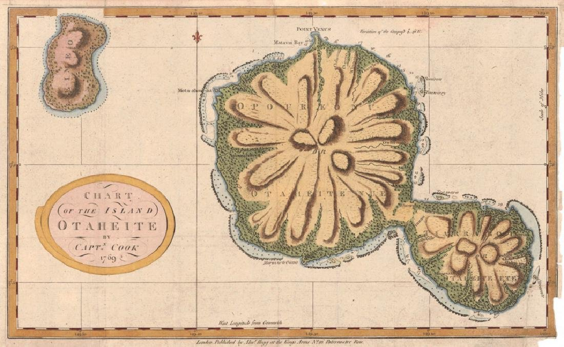 Antique Chart of the Island of Tahiti, 1775