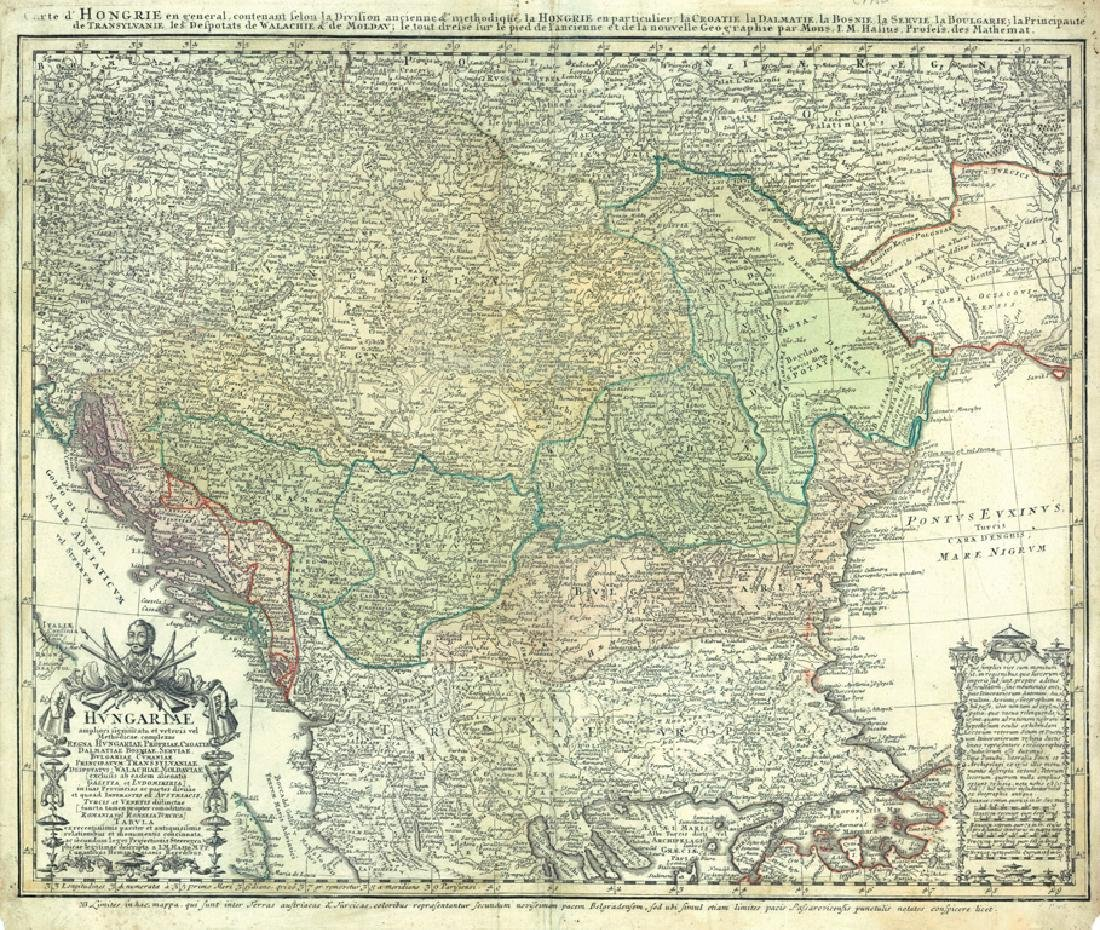 Homann Heirs: Antique Map of Hungary & North Balkans