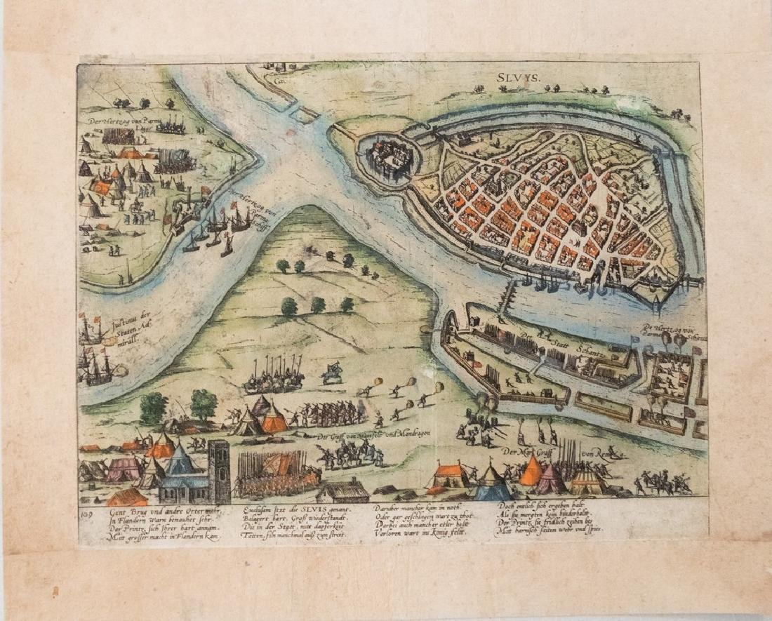 1587 Antique Birds Eye View of Ghent